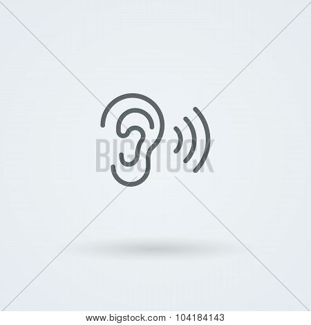 Stock minimalist icon ear.
