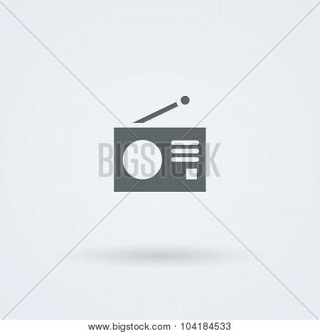 Minimalistic Vector icons with a vintage radio.