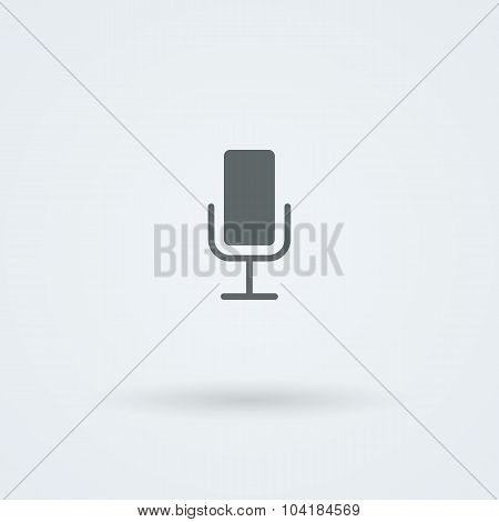 Minimalistic Vector icons with vintage or studio microphone.