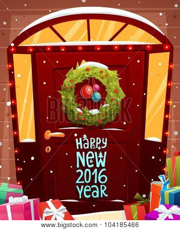 Christmas Door Decoration. Xmas Wreath with Balls and Lights. Holiday Greetings. Snowflakes and Snowdrifts. Holiday Vector Illustration for Christmas Banners, Placards and Posters.