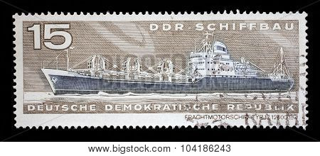 GDR-CIRCA 1971: A stamp printed in GDR from the GDR Ship Building issue shows Container Cargo Ship Type 17 12500 tdw, circa 1971.