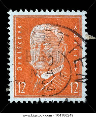 GERMAN REICH - CIRCA 1928: A stamp printed in the German Reich shows Paul von Hindenburg (1847-1934), 2nd President of the German Reich, circa 1928.