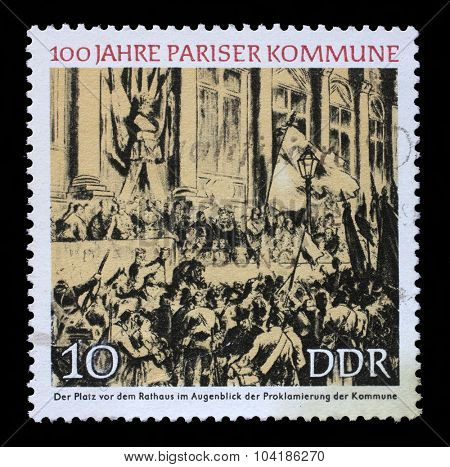 GDR - CIRCA 1971: a stamp printed in GDR shows Proclamation of the Commune, Town Hall, Paris, Centenary of the Paris Commune, circa 1971