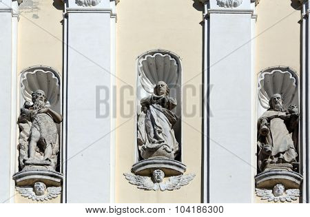LEPOGLAVA, CROATIA - SEPTEMBER 21: St Gregory the Great, Jesus Christ and St Jerome on the portal of parish Church of the Immaculate Conception of the Virgin Mary in Lepoglava on September 21, 2014