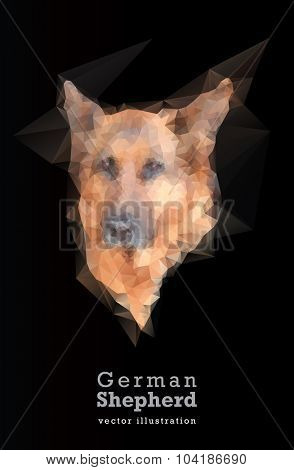 german shepherd vector low poly geometric