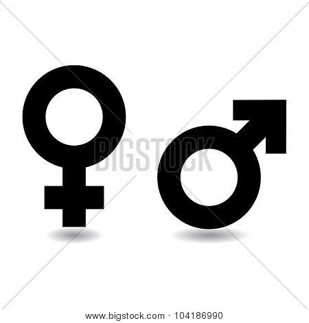 Black and white female male symbols with drop shadow