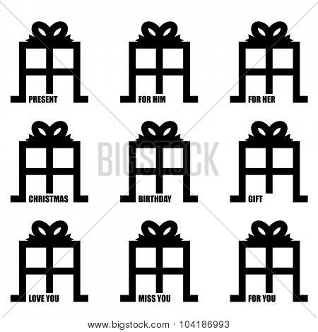 love you illustrated present gift concept with ribbon bow
