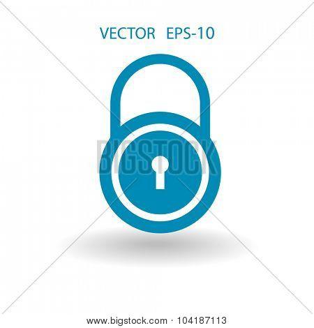 Flat icon of lock