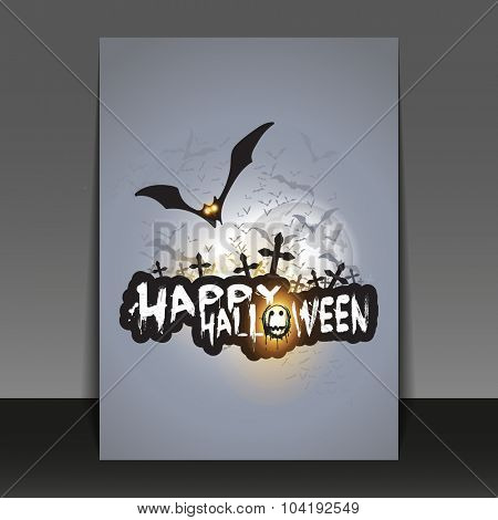 Happy Halloween Card, Flyer or Cover Template with Flying Bats Over Dark Crosses Under Full Moon - Vector Illustration