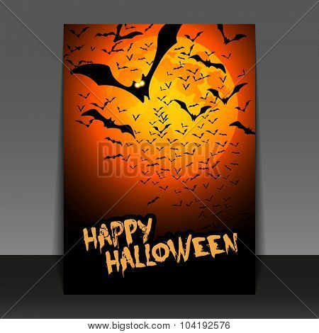 Halloween Flyer or Cover Design with Lots of Flying Bats Over the Night Field in the Darkness Under the Orange Sky and Yellow Moon - Vector Illustration