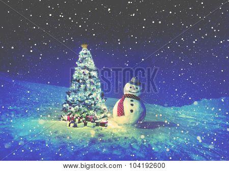 Christmas Holiday Christmas Tree Snowman Decoration Concept