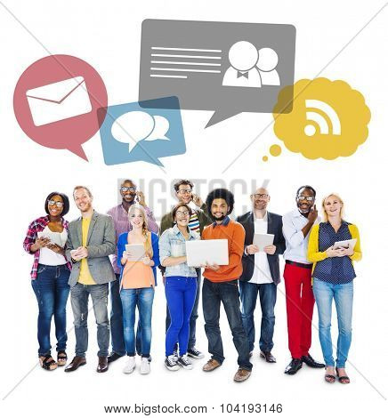 Multi-Ethnic Group Of People Holding Electronic Devices To Social Network