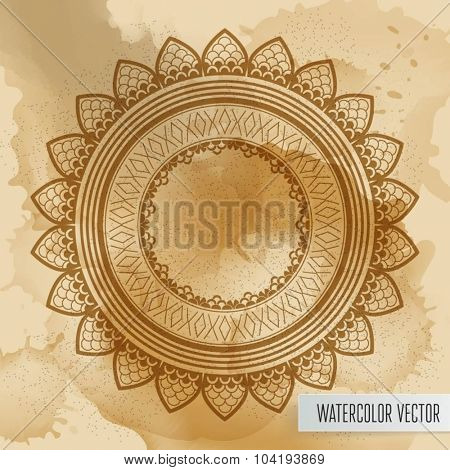 Geometric mandala element made in vector. Vintage decorative elements. Watercolor background. Islam, Arabic, Indian, Tribal motifs.