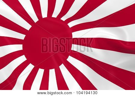 Waving Naval Flag Of Japan - 3D Render Of The Rising Sun Japanese Naval Flag With Silky Texture