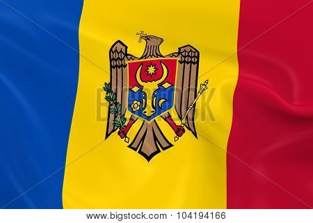 Waving Flag Of Moldova - 3D Render Of The Moldovan Flag With Silky Texture