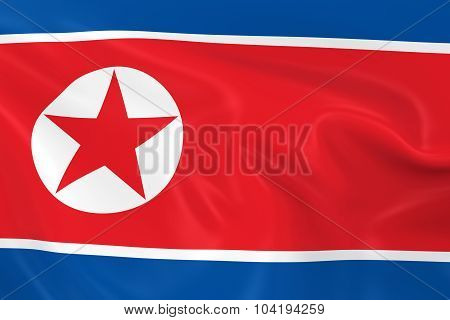 Waving Flag Of North Korea - 3D Render Of The North Korean Flag With Silky Texture