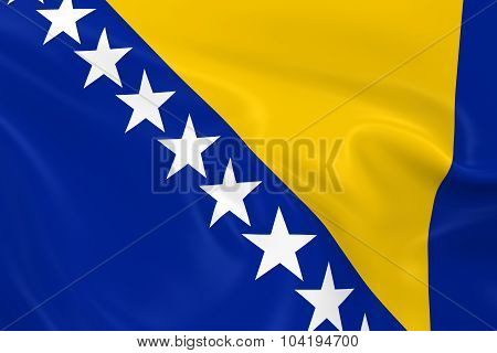 Waving Flag Of Bosnia And Herzegovina - 3D Render Of The Bosnian And Herzegovinian Flag With Silky T