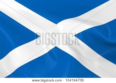 Waving Flag Of Scotland - 3D Render Of The Scottish Flag With Silky Texture
