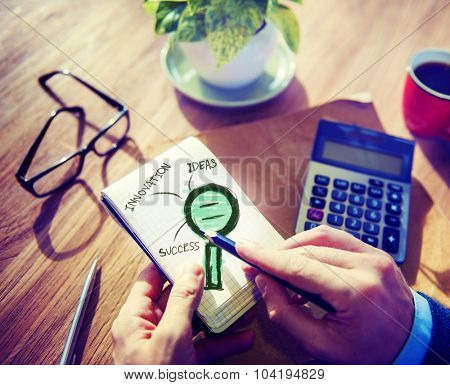 Businessman Writing Planning Success Search Concept