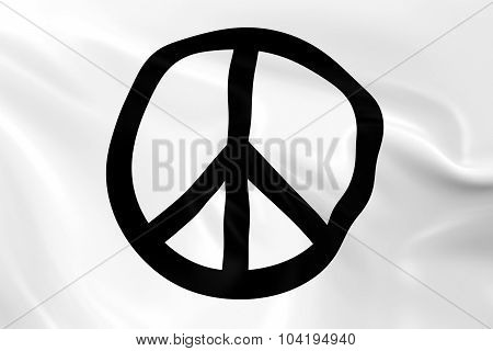 Waving White Peace Flag- 3D - Render Of A Peace Flag With Silky Texture