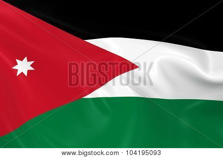 Waving Flag Of Jordan - 3D Render Of The Jordanian Flag With Silky Texture