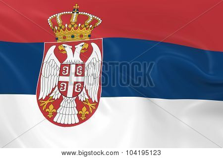 Waving Flag Of Serbia - 3D Render Of The Serbian Flag With Silky Texture