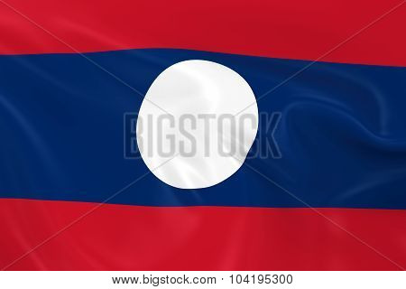Waving Flag Of Laos - 3D Render Of The Laotian Flag With Silky Texture