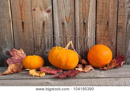 Pumpkins With Autumn Leaves On Wooden Table Near Wooden Wall
