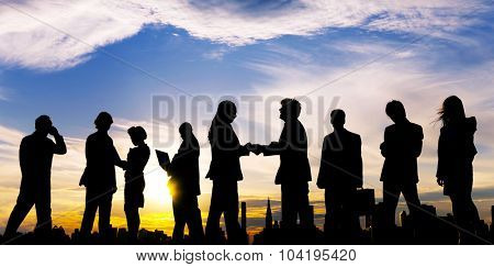 Outdoor Business Meeting Partnership Cooperation Concept