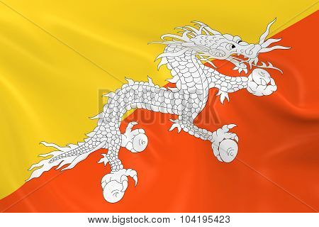Waving Flag Of Bhutan - 3D Render Of The Bhutanese Flag With Silky Texture
