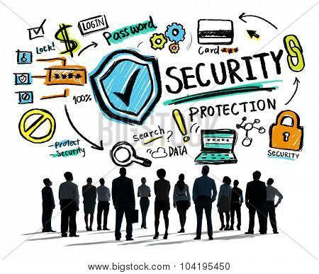 Business People Looking up Security Protection Firewall Concept