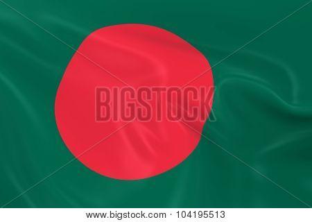 Waving Flag Of Bangladesh - 3D Render Of The Bangladeshi Flag With Silky Texture