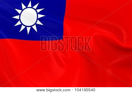 Waving Flag Of Taiwan - 3D Render Of The Taiwanese Flag With Silky Texture