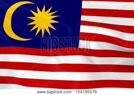 Waving Flag Of Malaysia - 3D Render Of The Malaysian Flag With Silky Texture