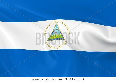 Waving Flag Of Nicaragua - 3D Render Of The Nicaraguan Flag With Silky Texture