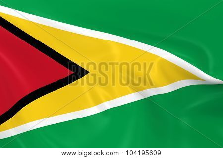 Waving Flag Of Guyana - 3D Render Of The Guyanese Flag With Silky Texture