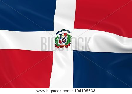 Waving Flag Of The Dominican Republic - 3D Render Of The Dominican Flag With Silky Texture