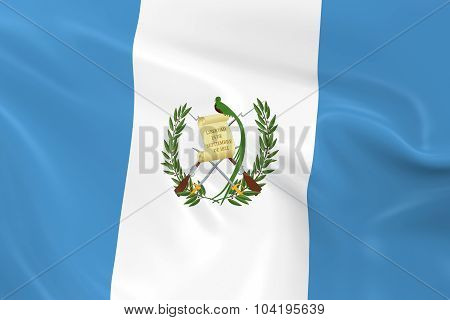 Waving Flag Of Guatemala - 3D Render Of The Guatemalan Flag With Silky Texture