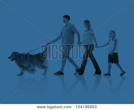 Happy Family Relaxation Holiday Dog Concept