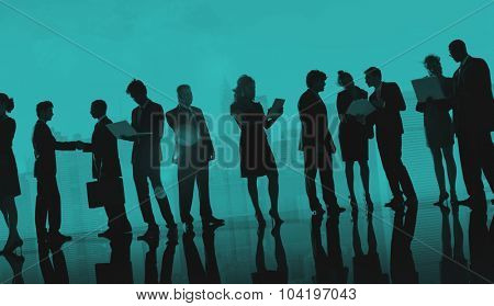 Business People Working Technology Rooftop City Concept
