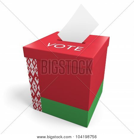 Belarus election ballot box for collecting votes