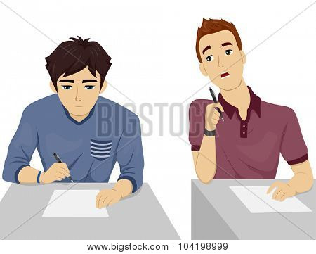 Illustration of a Teenage Student Looking Over the Test Paper of His Seatmate