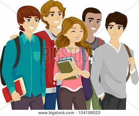 Illustration of a Popular Girl Surrounded by Teenage Guys