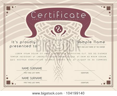 Gift Vintage Certificate / Diploma / Award Border Template Of Course Completion On Paper With Celtic
