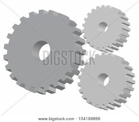 3D Indistrial Gears Vector Illustration