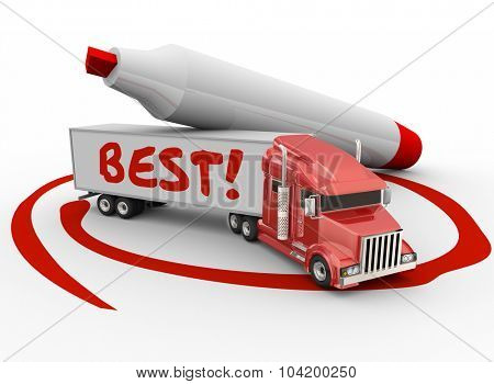 Best word written on a truck trailer circled by a red marker to illustrate the best carrier company or business choice