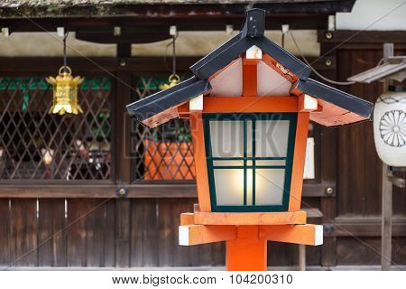 Red lantern in traditional japanese temple