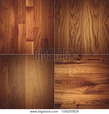 Set of four wooden textures background patterns.