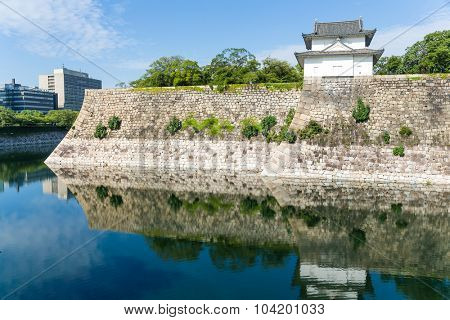 Moat with a Turret of Osaka Castle in Osaka