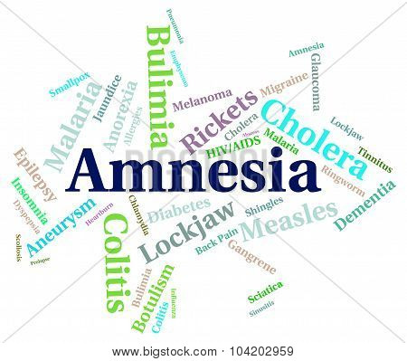 Amnesia Illness Represents Loss Of Memory And Ailment